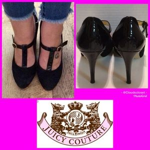 JUICY COUTURE T STRAP MARY JANE HEELS SUEDE PATENT